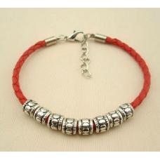 Hot Red Braided Leather Tibetan Tibetan Silver Beaded Bracelet