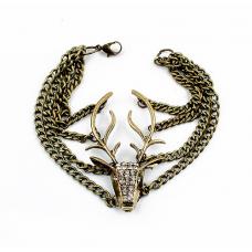 Vintage Style Cool Deer Head Multi Chains Layered Bracelet