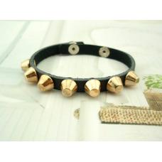 100 Genuine Leather Gold Studded Black Bangle Bracelet