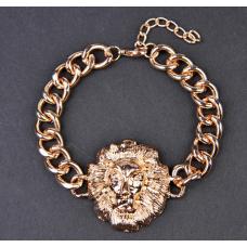 Hot Gold Tone Lion Head Link Chain Bracelet