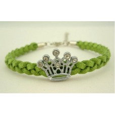 Shiny Green Braided Rope Rhinestone Crown Bracelet
