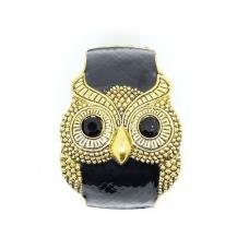 Cool Black Wide Owl Bangle Bracelet