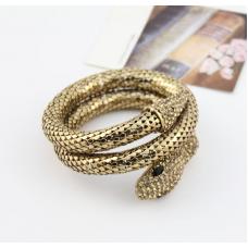 Metallic Yellow Rhinestone Snake Bangle Bracelet