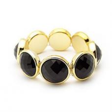 Fashion Black Big Round Bead Stretch Bracelet